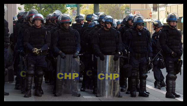 Riot Police in full gear; helmets, shields, bullet proof vests, etc.