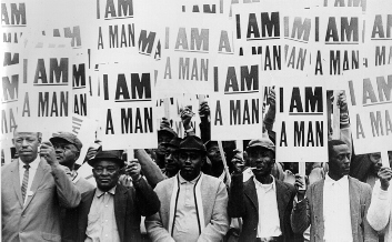 "Black Men Holding ""I AM A MAN"" placards"