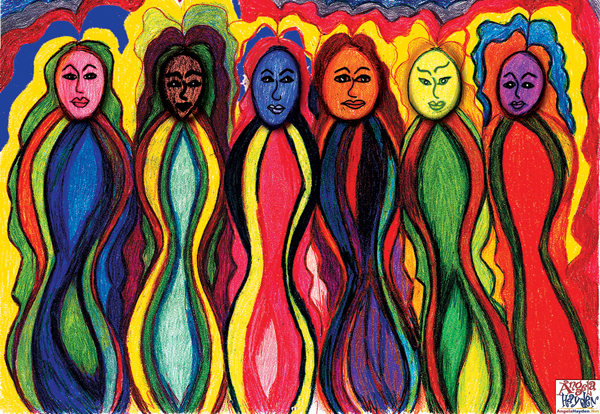 Painting of queer women in rainbow colors.