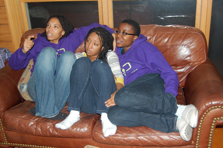 CFs relax on comfortable couch