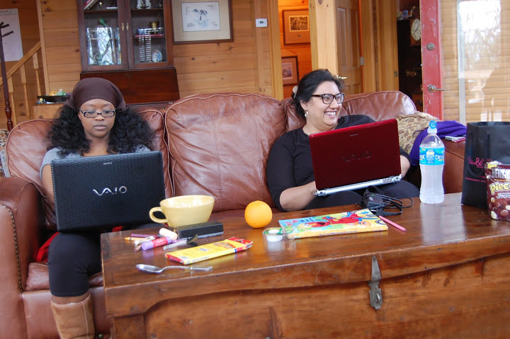 CF Robin and CF Eesha with their laptops