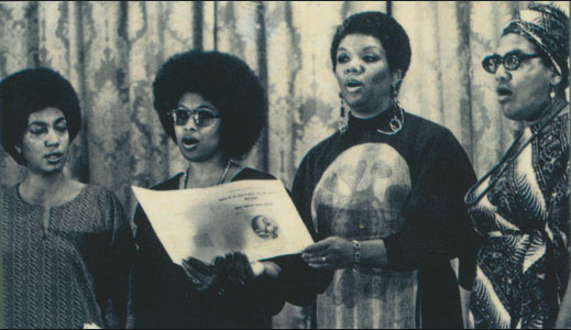 June Jordan, Alice Walker, Lucille Clifton, and Audre Lorde at the Phillis Wheatley Poetry Festival in 1979.