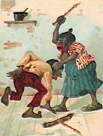 Caricature of black woman beating a boy.